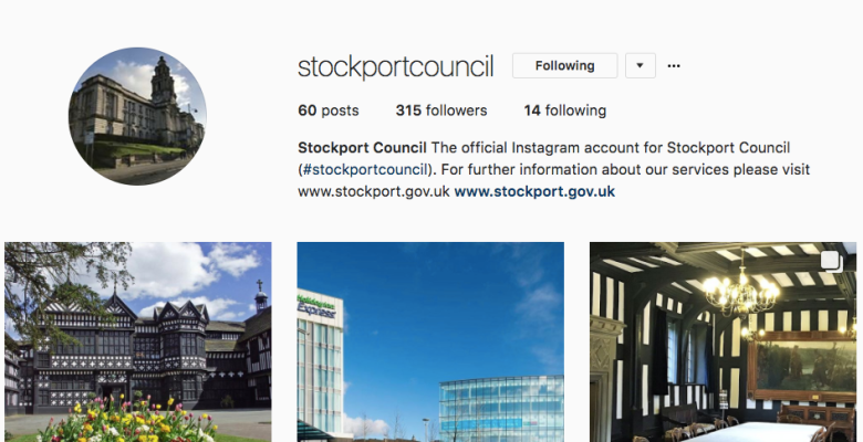 Follow Stockport Council's Instagram account