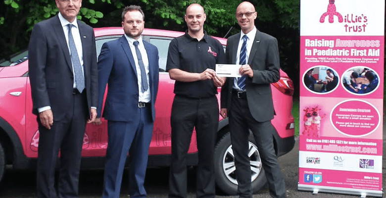 Millie's Trust receive £2,500 from Bollington Insurance Brokers
