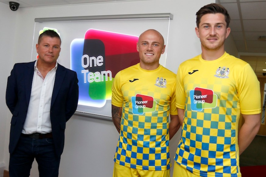 Stockport County in sponsorship with Pioneer Group - Pic shows (L-R) Chris Appleyard, Sam Minihan & Connor Hampson