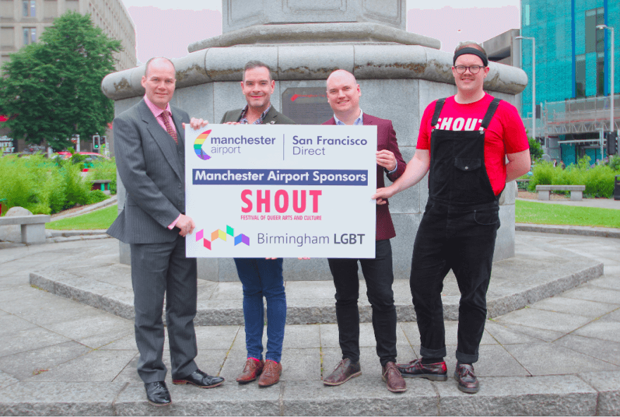 Patrick Alexander (Manchester Airport), Seb Thompson (Manchester Airport), Andrew Hitches-Davies (Chair of Birmingham LGBT Board), and Adam Caver (Birmingham SHOUT Festival Producer) announce their new three year partnership