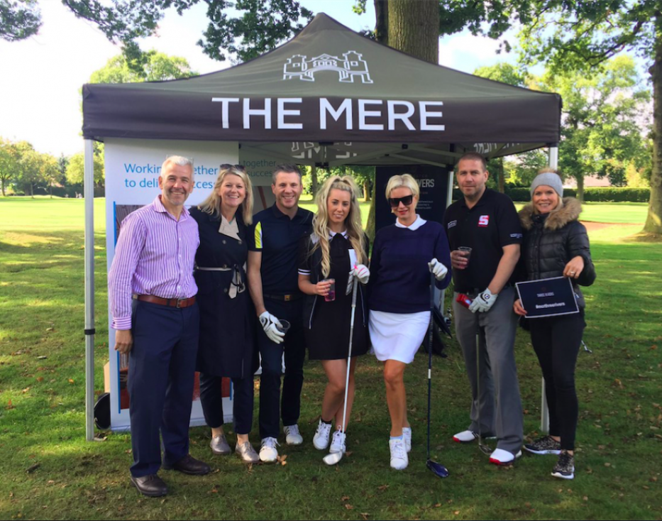 Seashell Trust Golf event: Dominic Tinner, Rachel McCrystal, Brian Hay, Jade Towns, Denise Van Outen, Tom Duffy and Luisa from event organiser Make Events