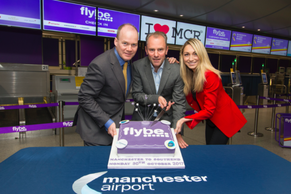 Flybe take off from Manchester to Southend - Patrick Alexander, London Southend Airport's Andrew Lewis and Manchester Airport's Lois Robertson celebrate the new route