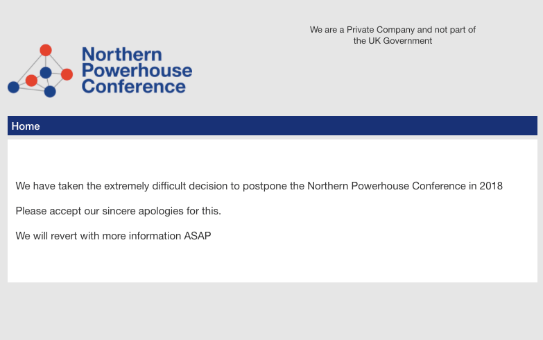 Northern Powerhouse Conference 2018 has been postponed
