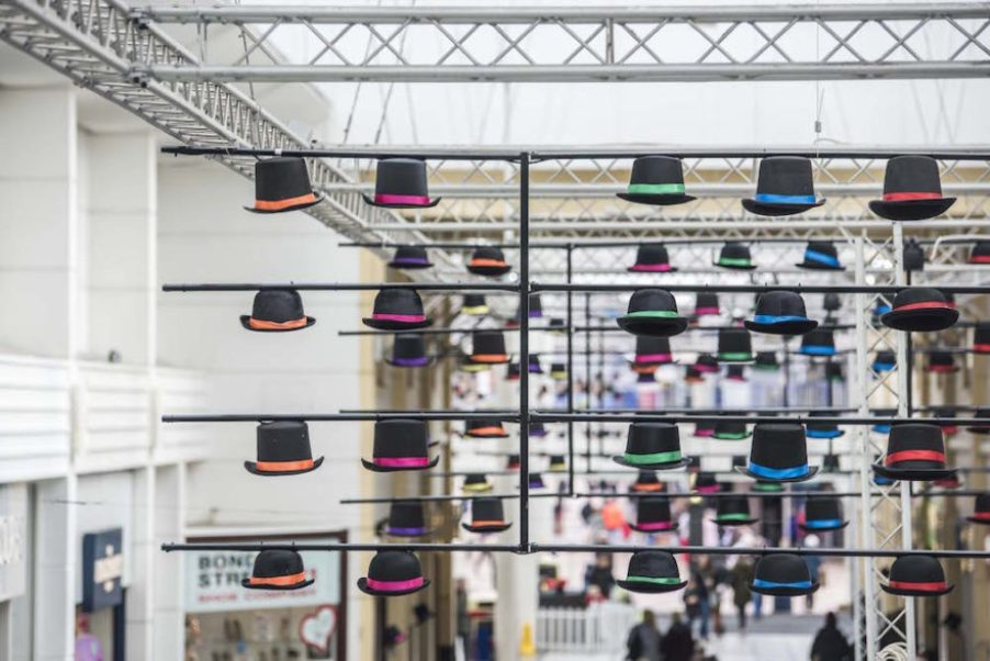 Hats off in Merseyway - an art installation in celebration of Wear a Hat Day