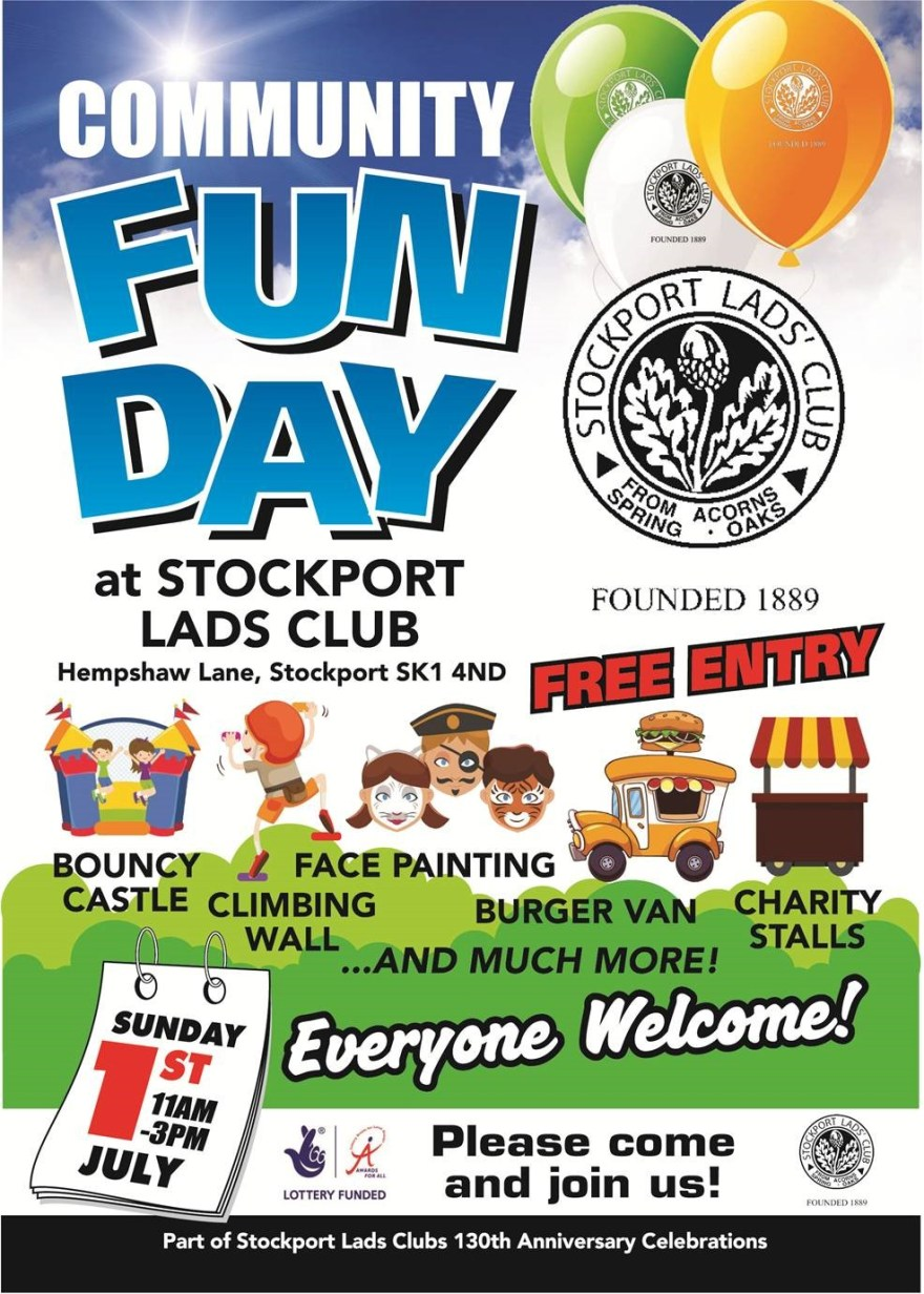 Stockport Lads Club Fun Day Flyer Picture