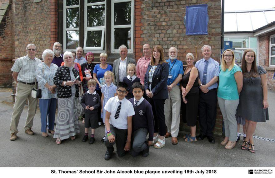 Sir John Alcock plaque unveiling at St Thomas's school