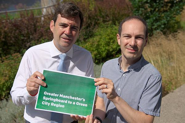 Stockport Council Leader and GM Mayor Andy Burnham launch green springboard for Greater Manchester
