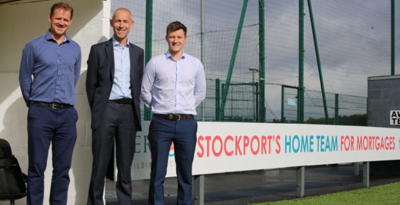 Vernon Building Society supporters of Stockport Town FC (LtoR)- Rob Clare, Stockport Town FC; Ian Keeling and Alex Deakin from Vernon Building Society