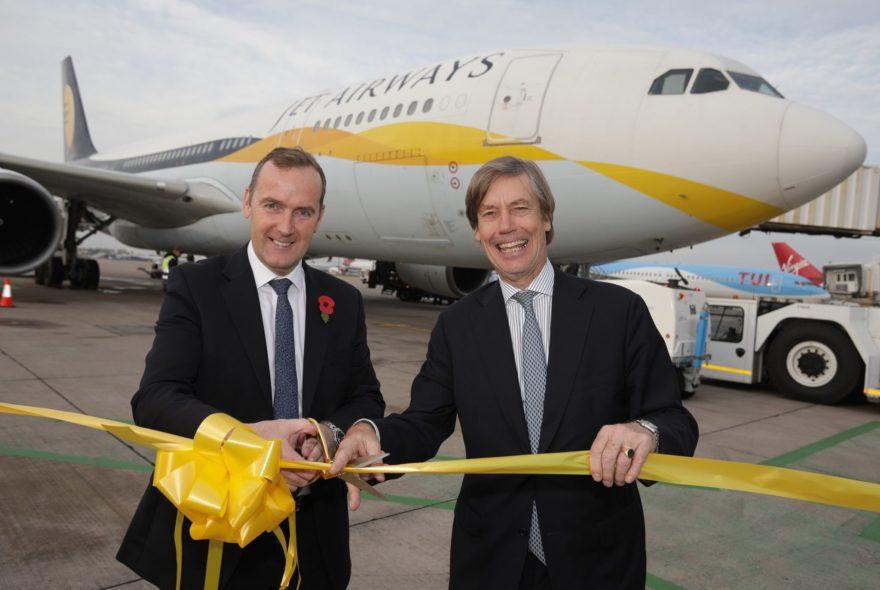 Manchester Airport CEO Andrew Cowan and Jet Airway EVP Marnix Fruitema launch the new Mumbai flight 2
