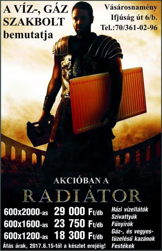 Akciós radiátor hirdetés