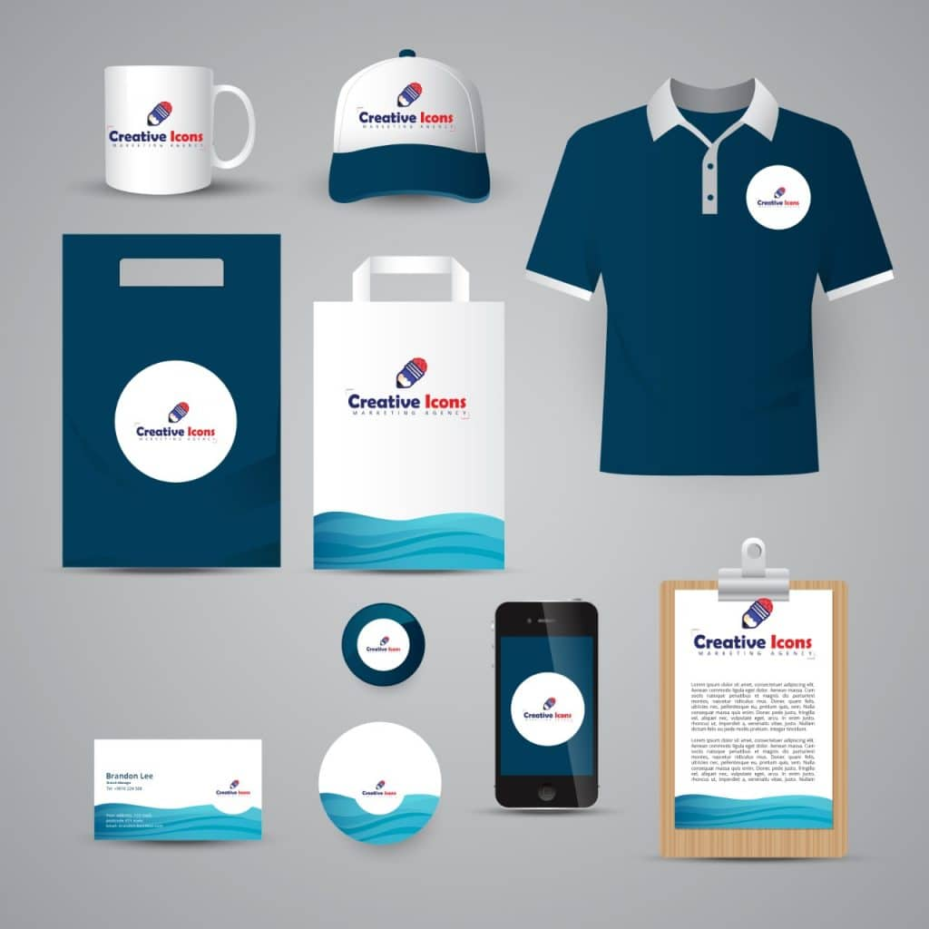 Corporate Branding marketing design - t shirt design - notice board design - clip board design - badge design - cup design - register design - cd player design - usb cover design