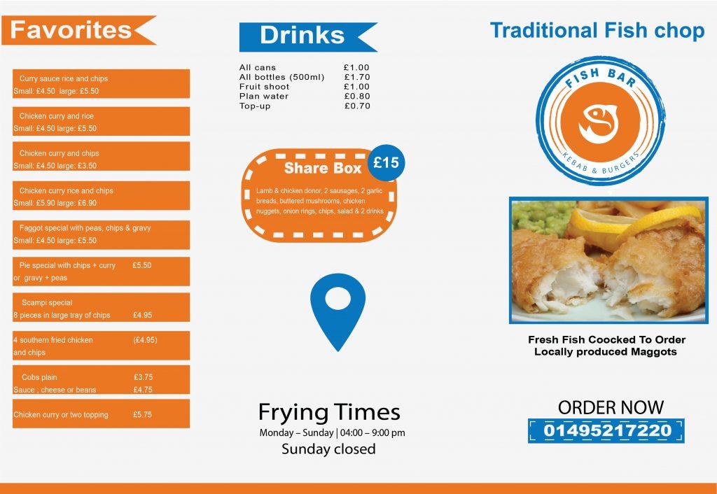 Fish Bar Menu design -