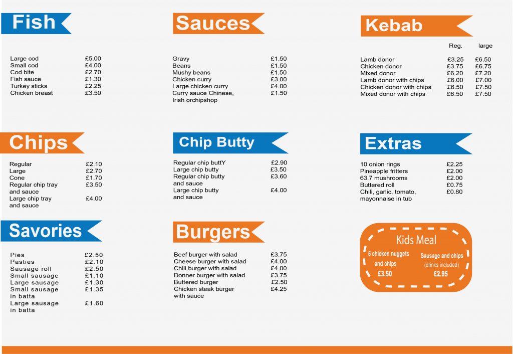 Fish Bar Menu design