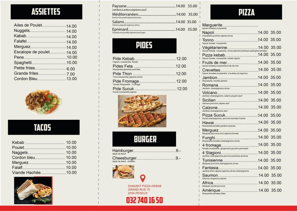 pizza kebab menu design -