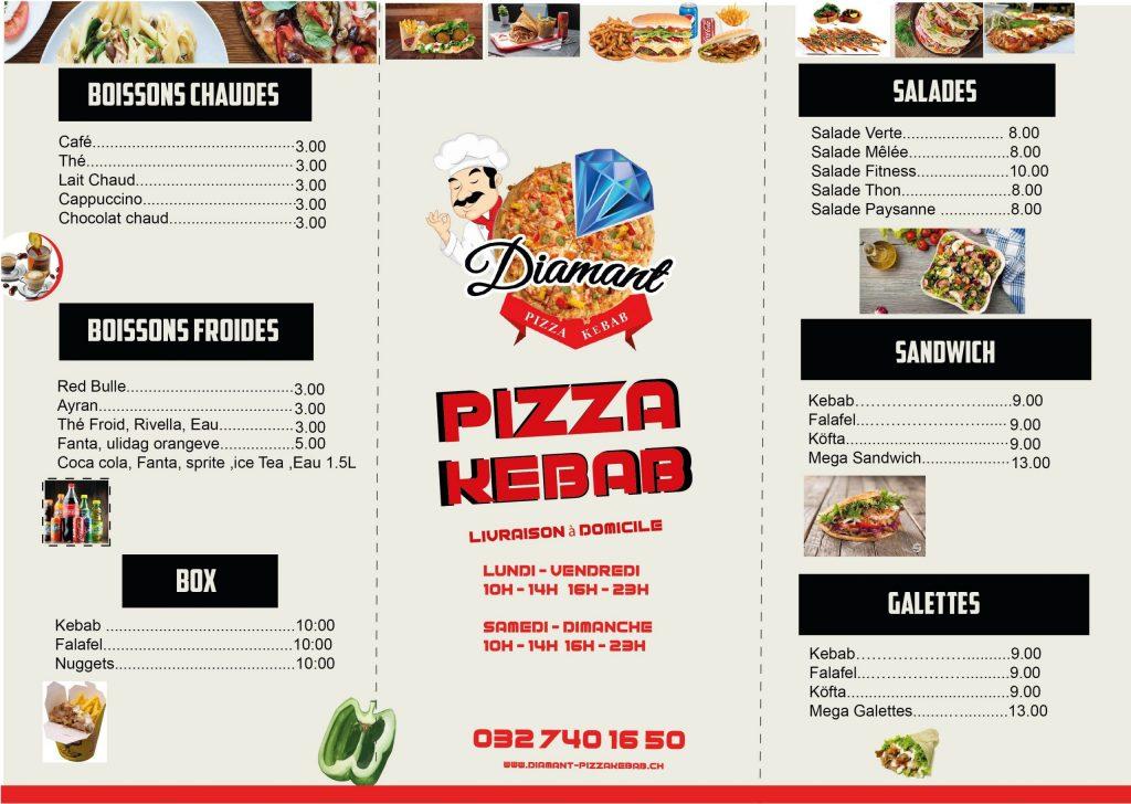 pizza kebab menu design