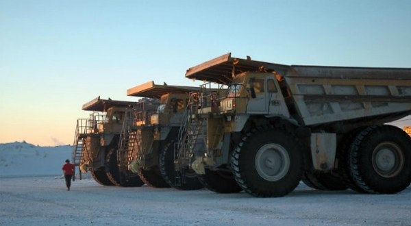 Big Trucks at a Gold Corp Mine.