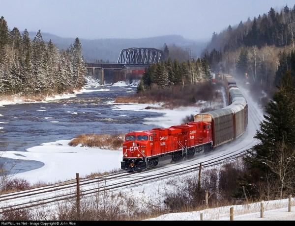 A Canadian Pacific Train hauls cars.