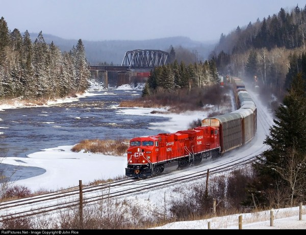 A Canadian Pacific Train hauls cars.