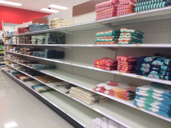 Empty Shelves a regular sight at Canadian Target stores before the closing was announced.