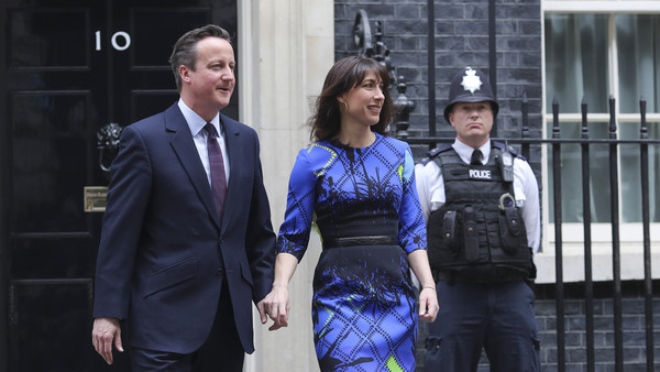 David and Samantha Cameron will stay at 10 Downing Street for another five years.