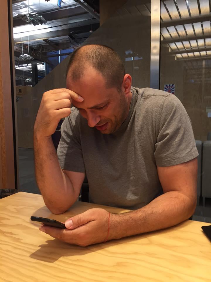 Jan Koum hard at work at Facebook in a shot snapped by Mark Zuckerberg himself.