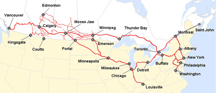 Map of the Canadian Pacific System, a true transcontinental line.