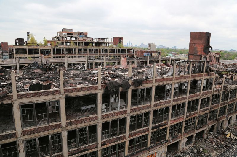 The abandoned Packard Plant in Detroit.