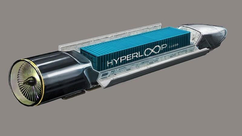 Concept art of Hyperloop One's freight pod.