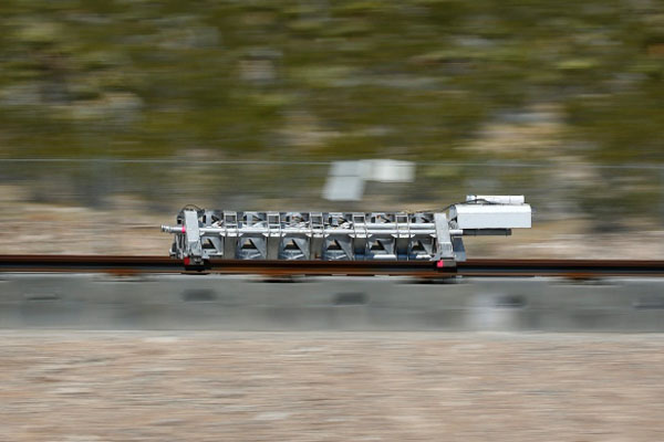 Hyperloop One's first open air test of its electromagnetic propulsion system on May 11, 2016.