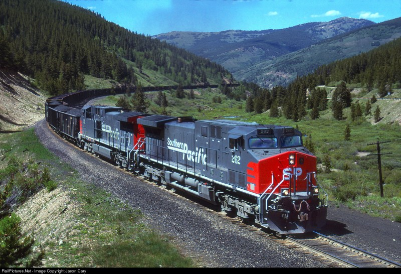 A Southern Pacific coal train on the Tennessee Pass in the 1990s.