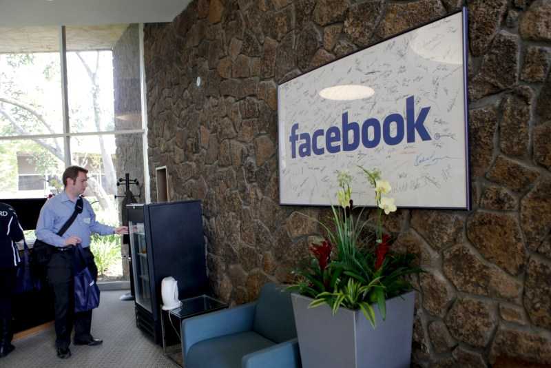 The reception at Facebook headquarters in Palo Alto, CA on Wednesday, April 13, 2011.   AFP PHOTO / Ryan Anson (Photo credit should read Ryan Anson/AFP/Getty Images)
