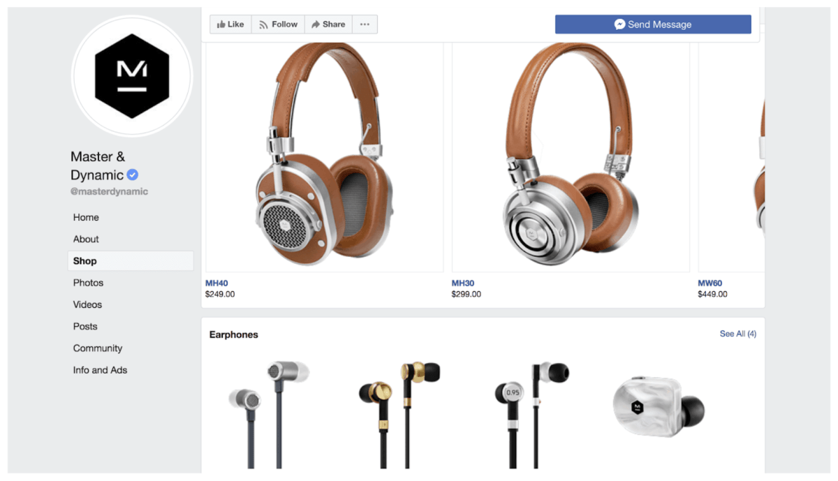 Facebook Store page examples 1