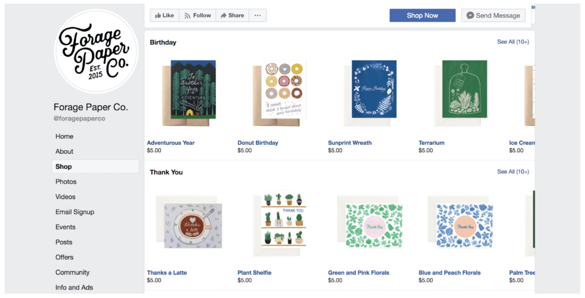 Facebook Store page examples 2