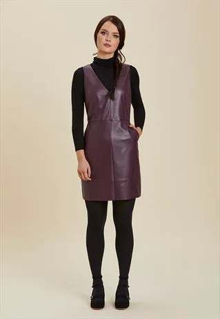 soho leather look pinafore