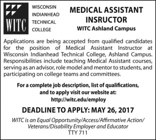 Medical Assistant Instructor Wisconsin Indianhead Technical College Ashland WI