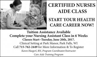 Certified Nurses Aide Class, Park Manor Care Aide Training