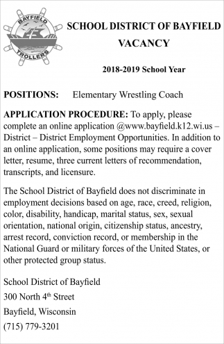 Wrestling Resume Vacancy Elementary Wrestling Coach School District Of Bayfield