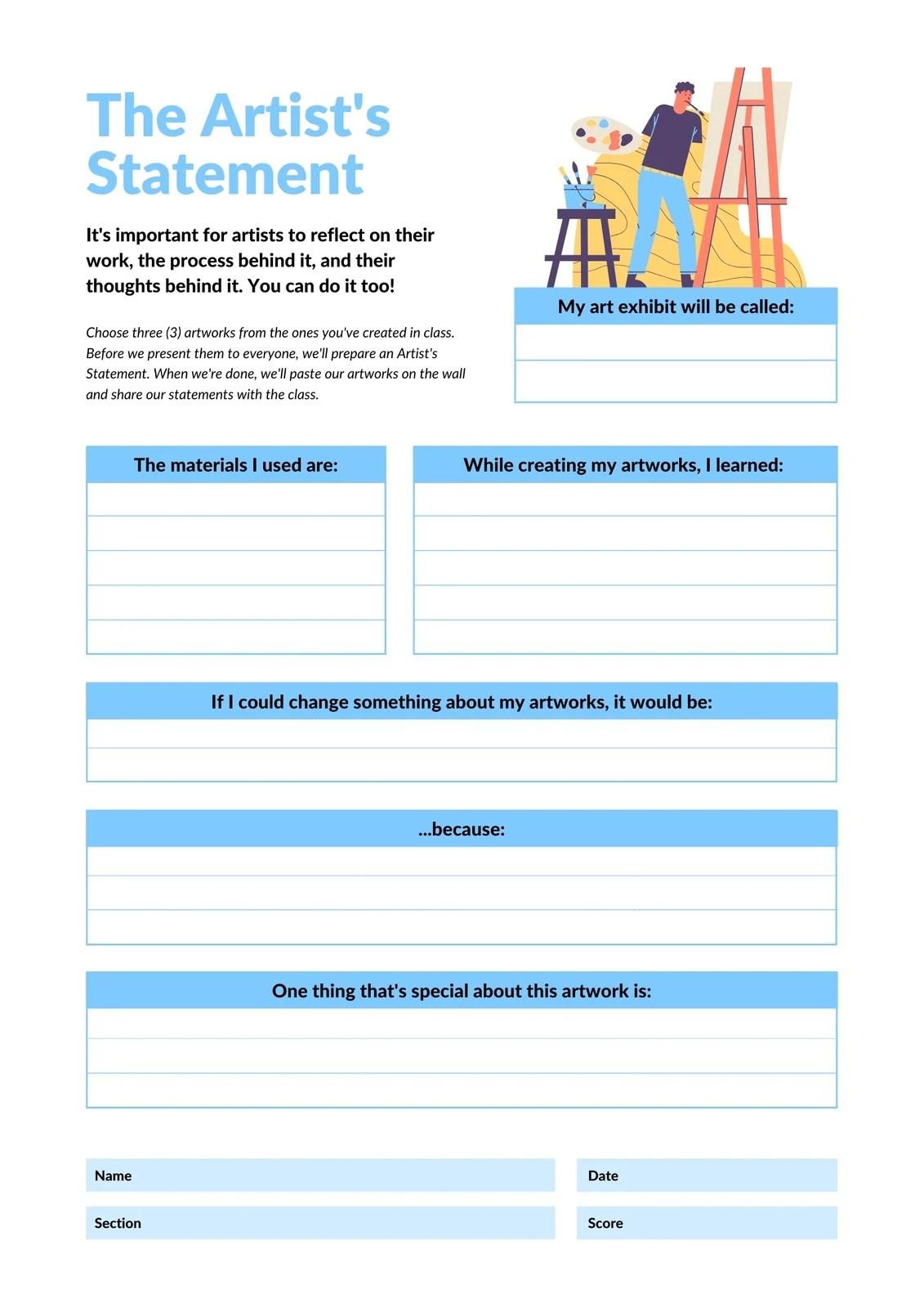 Personal Artist S Statement Activity Printable Worksheet
