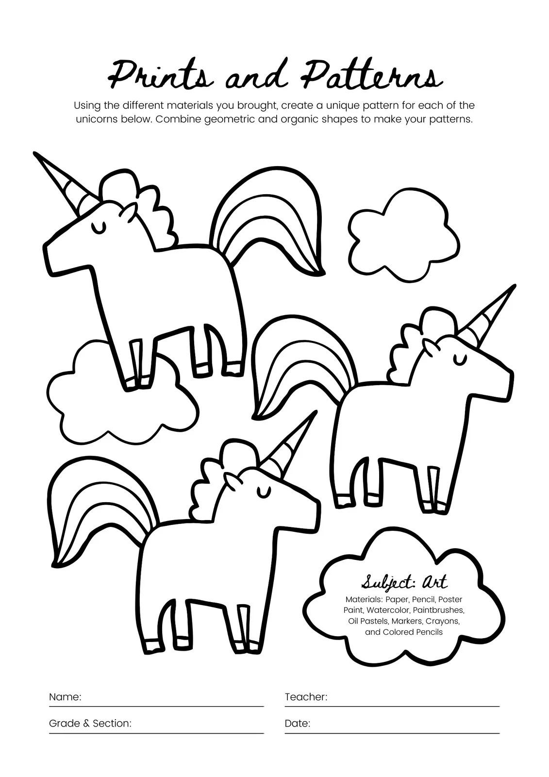 Black And White Unicorn Pattern Drawing Art Activity