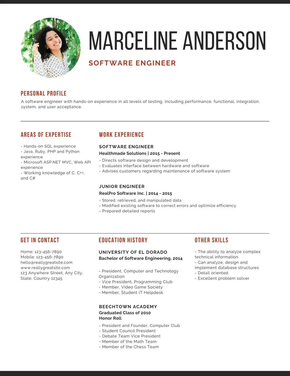 Pillar is a free resume/cv template available in both an html5 bootstrap template for online resumes and a sketch template for printed versions. Simple Professional Software Engineer Resume Templates By Canva