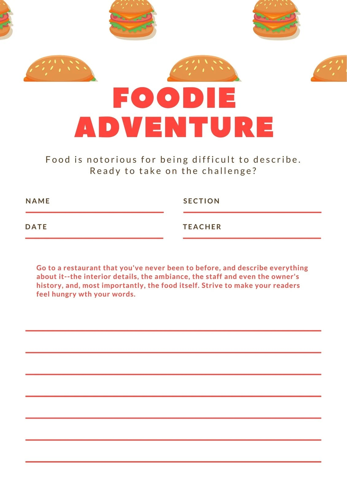 Red Burger Non Fiction Writing Prompt Worksheet