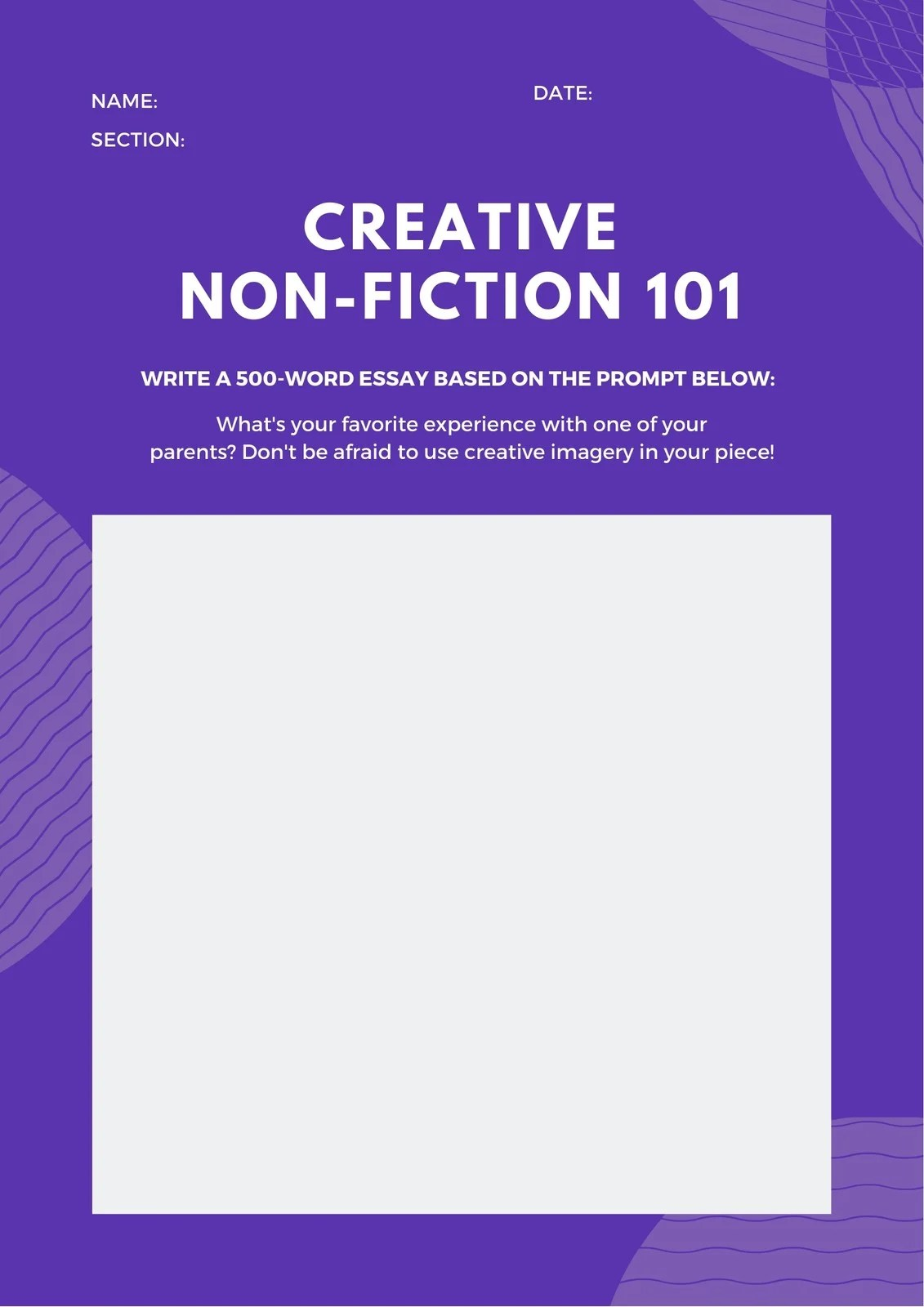 Purple Venn Diagram Non Fiction Writing Prompt Worksheet