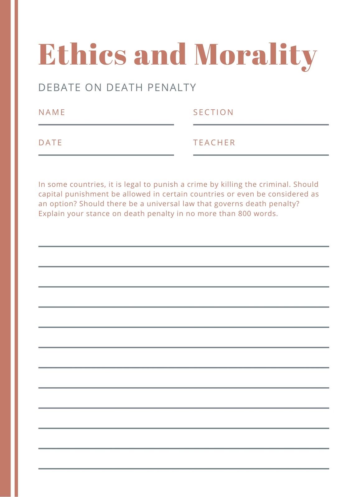 Orange Simple Debate Writing Prompt Worksheet
