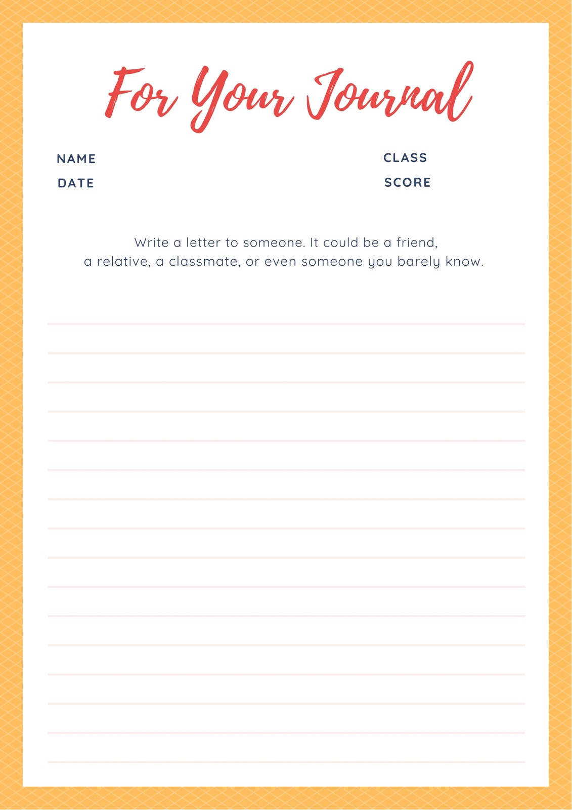 Yellow Bordered Simple Journal Writing Prompt Worksheet