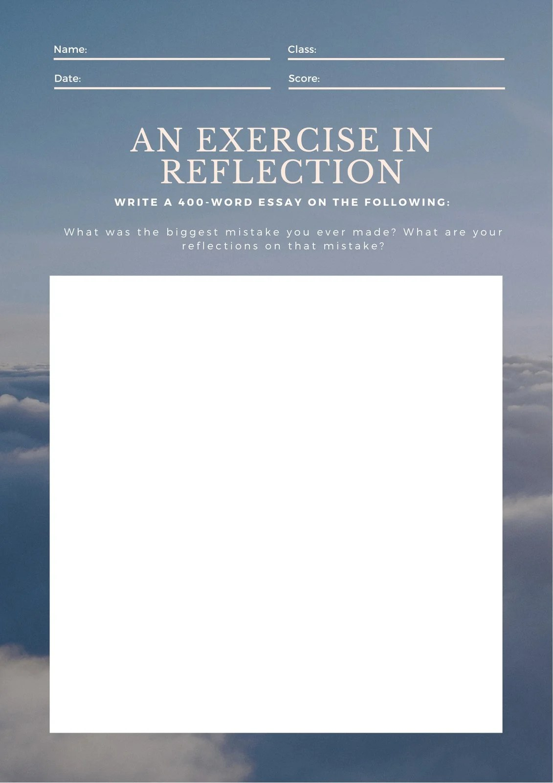 Peach Blue Reflection Writing Prompt Worksheet