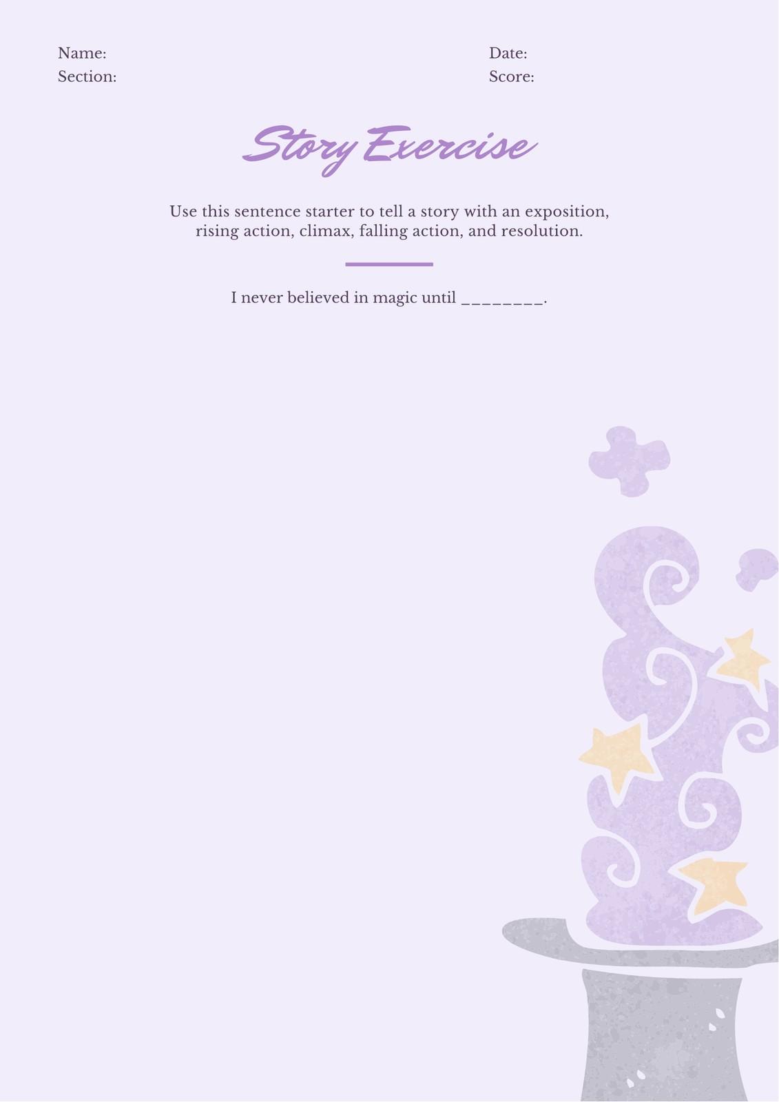 Purple Sentence Starters Writing Prompt Worksheet