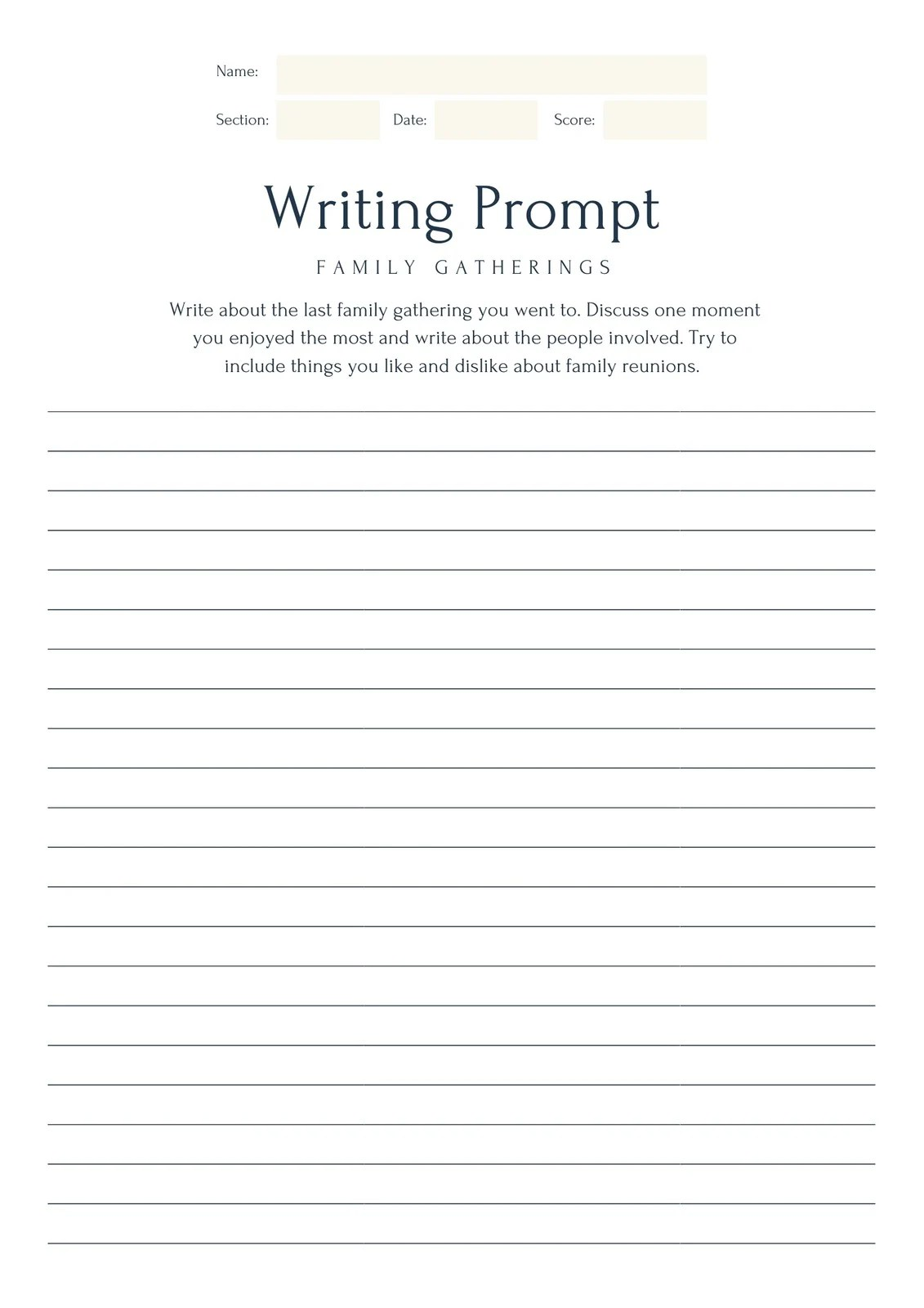 Simple Writing Prompt Worksheet