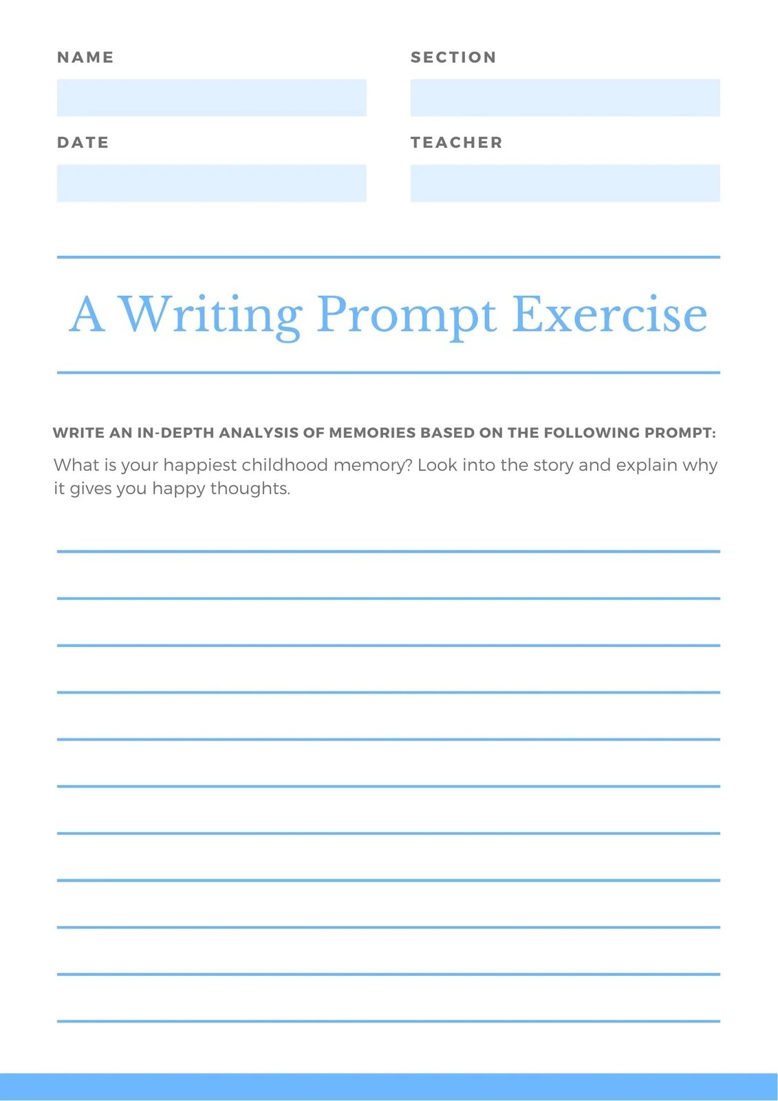 White And Blue Minimal Writing Promptysis Worksheet