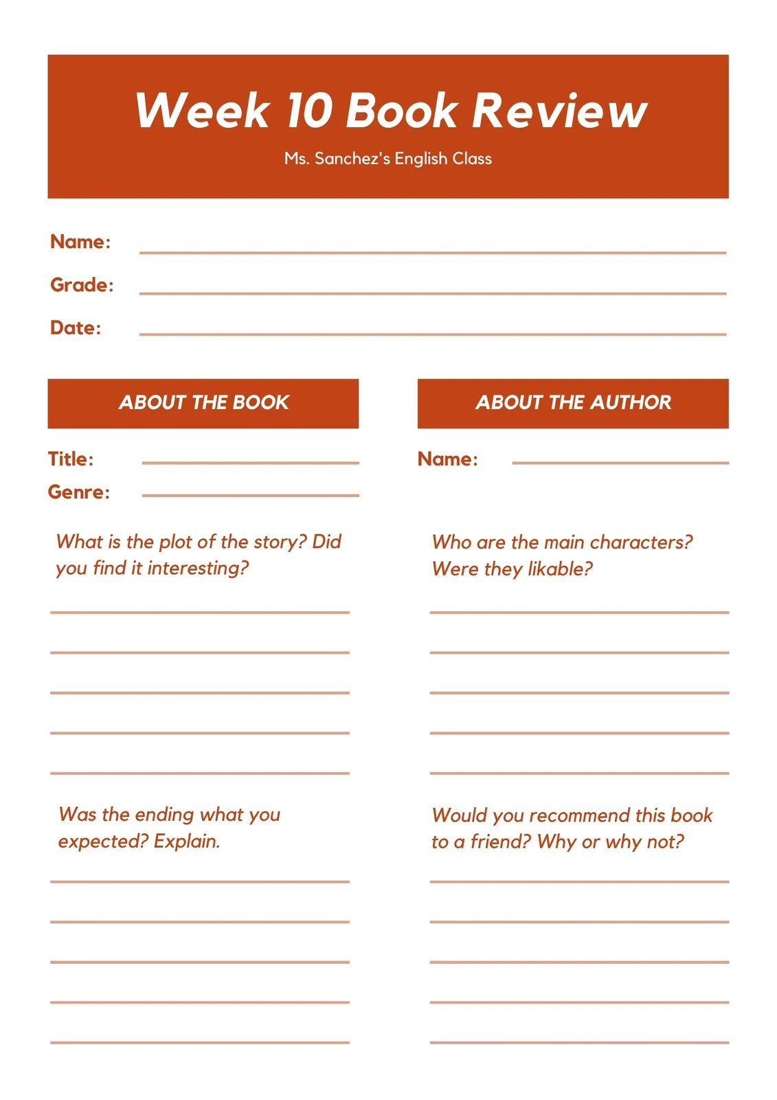Firebrick Rectangles Middle School Book Review Worksheet