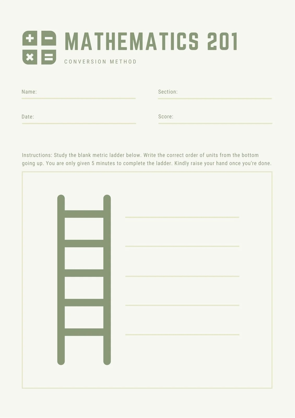 Green Ladder Math Games Worksheet